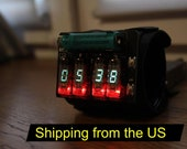 nixie tube wrist watch clock steam punk portable metro style date month temperature display iv-3 (iv-8), shipping from US