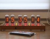Nixie tube clock with IN-8-2 tubes (fine 5, not up side down 2) remote control, temperature sensor, wooden case with clear or black covers