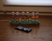 Nixie tube clock || include IN-14 tubes and case || old school combined with handmade retro decor art || Vintage Table Clock