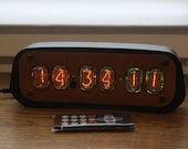 Nixie tube clock || include IN-12 tubes with enclosure || fully assembled with handmade retro decor art || Vintage Table Clock