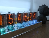 Nixie tube clock with Tesla ZM1040 ZM1042 tubes remote control temperature and enclosure handmade wooden housing case
