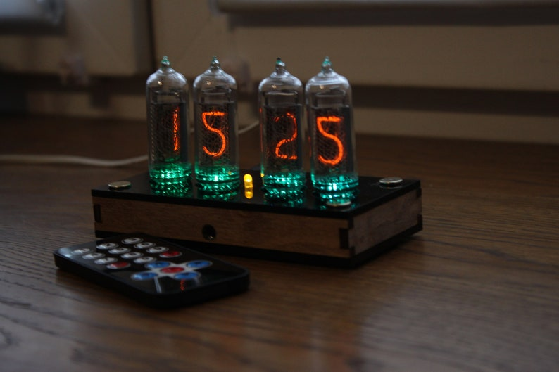 Nixie tube clock  include IN-14 tubes and case  old school Plywood with black