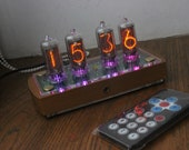 Nixie tube clock with IN-8-2 tubes and case old school combined modern, wooden case with different covers, vintage desk clock