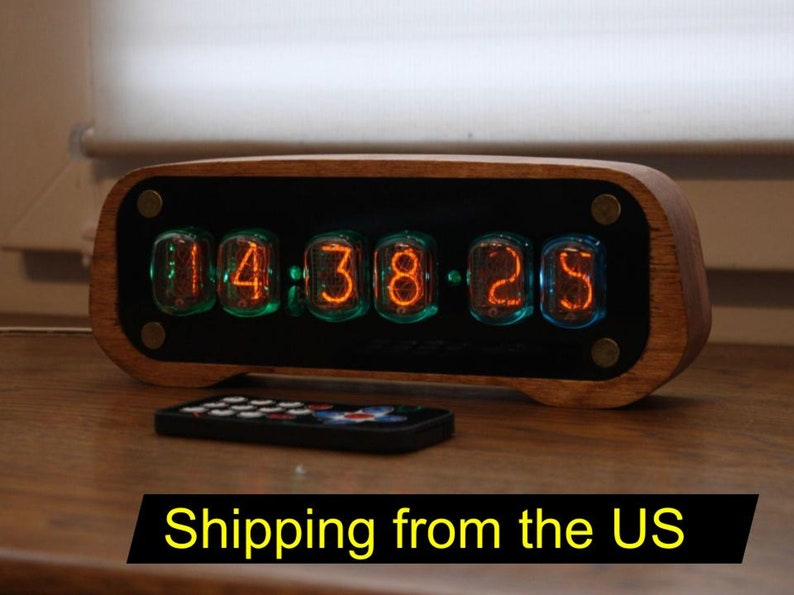 Nixie tube clock with IN-12 tubes and case fully assembled image 0