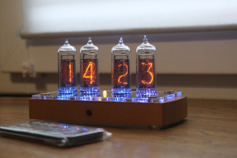 Nixie tube clock with IN-14 tubes and case old school combined image 0