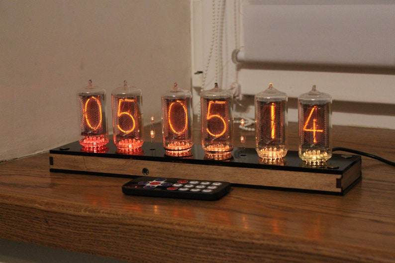 Nixie tube clock  with BIG RTF tubes Z566M  remote control plywood and black