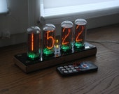 Nixie tube clock || include IN-18 tubes with enclosure || old school combined with handmade retro decor art || Vintage Table Clock
