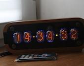 Nixie tube clock in-12, desk alarm clock with motion sensor, soviet nixie watch, vintage tube clock retro and wood
