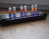 Nixie tube clock    include IN-16 tubes and handmade enclosure housing     old school combined with handmade retro    custom date codes