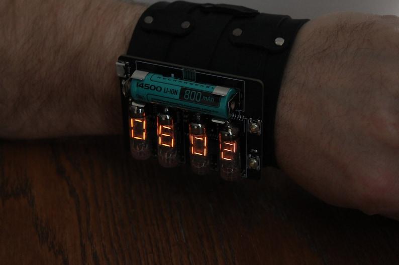 nixie era vfd numitron iv-9 wrist watch clock steam punk image 0