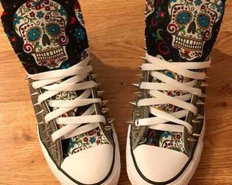 598807e19f Sugar skull Converse Shoes with spikes