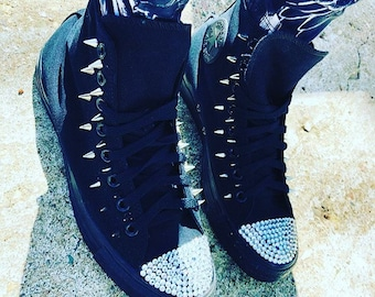 Rhinestone Converse Shoes with spikes