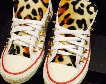 Leopard Print Converse Shoes Spiked