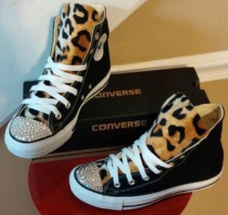 Leopard Print Swarovski Crystal Converse Shoes  7121378a5