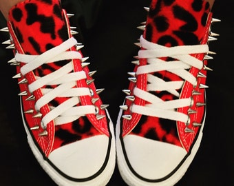 Red leopard spiked Converse chuck taylor shoes
