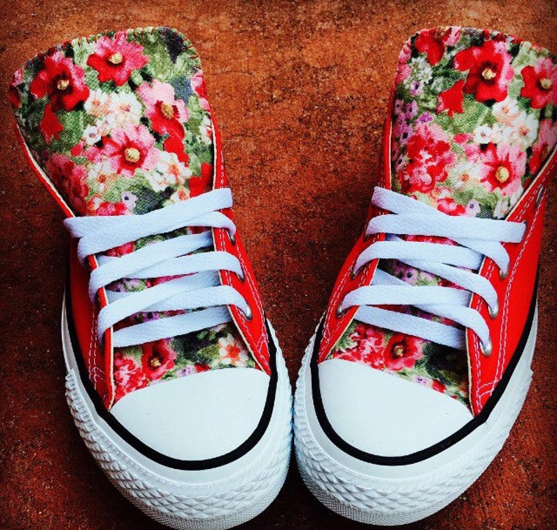 Floral Converse Chuck Taylor Shoes Red