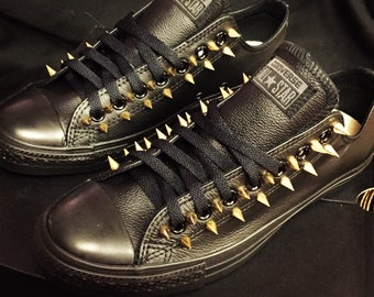 Leather Converse Spiked Shoes