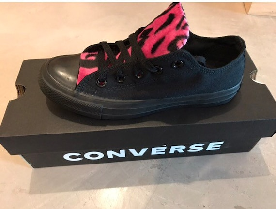 Hot Pink Leopard Print Converse Chuck Taylor Shoes  8ac892831