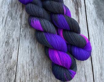 yarn, PRE-ORDER, Spellbound, hand dyed yarn, black and purple yarn, sw merino yarn, worsted yarn, DK yarn, Sock yarn, shimmer yarn