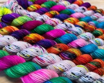 yarn, dk minis, ready to ship, mini skeins, add on mini skeins, indie dyed mini skeins, multi-colored mini skeins, sw merino yarn
