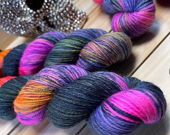 yarn, Incantation, ready to ship, dk yarn, indie dyed yarn, halloween yarn, black and orange yarn, black and purple yarn, yarn update