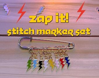 stitch markers, zap it! stitch marker set, ready to ship, knitting stitch markers, lightning bolt stitch markers