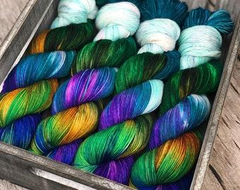 yarn, undomestic and majestic PRE-ORDER, sw merino yarn, fingering yarn, worsted yarn, DK yarn, indie dyed yarn, peacock yarn