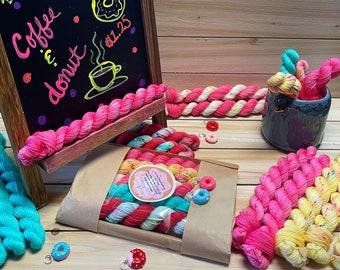 yarn, Coffee Shop, ready to ship, sock yarn, mini sock skeins, mini skein set, sw merino, fingering yarn, pink sock yarn, speckled sock yarn