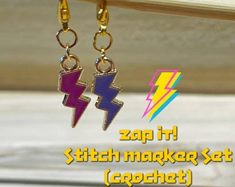 stitch markers, Zap It! stitch markers, ready to ship, crochet stitch marker set, pink and purple lightning bolt stitch markers