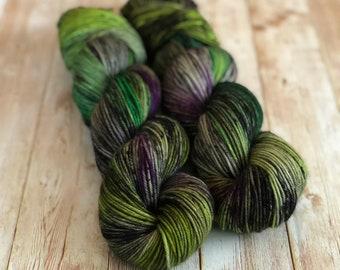 yarn, PRE-ORDER, It Can't Rain All The Time, The Crow, hand dyed yarn, worsted yarn, dk yarn, sock yarn, shimmer yarn, black and green yarn