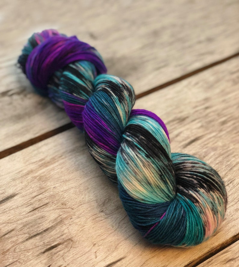 crocheting Pre-order yarn yarn for knitting Mother/'s Day gift Party at my castle yarn Hand dyed yarn Violet and teal yarn with black