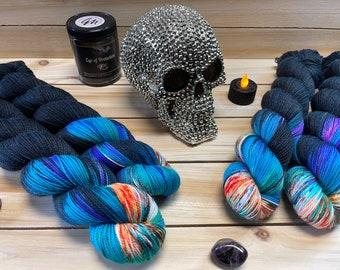 yarn, Dark Phoenix, ready to ship, sw merino yarn, black yarn with speckles, sw merino yarn, indie dyed yarn, sock yarn, fingering yarn