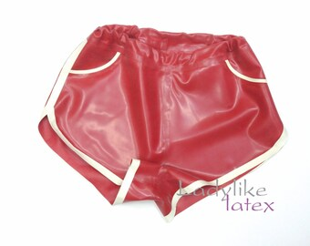 Womens Latex Rubber Shorts with front pockets