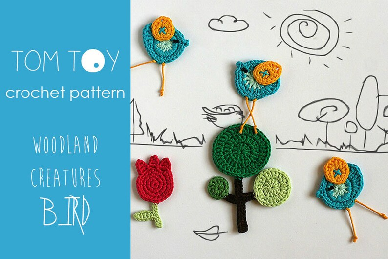 Bird set crochet pattern woodland creatures collection etsy