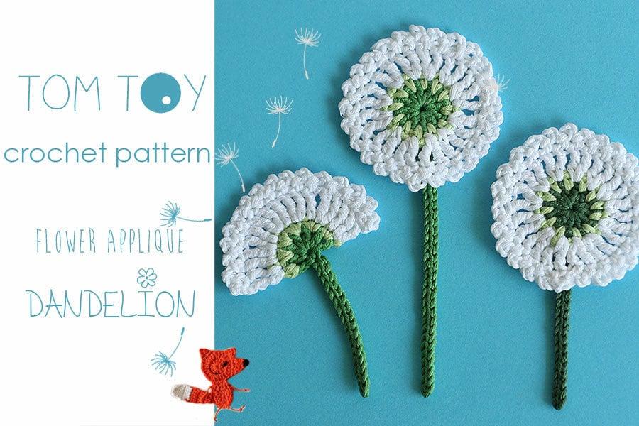 Dandelion flower applique crochet pattern bloom collection by etsy