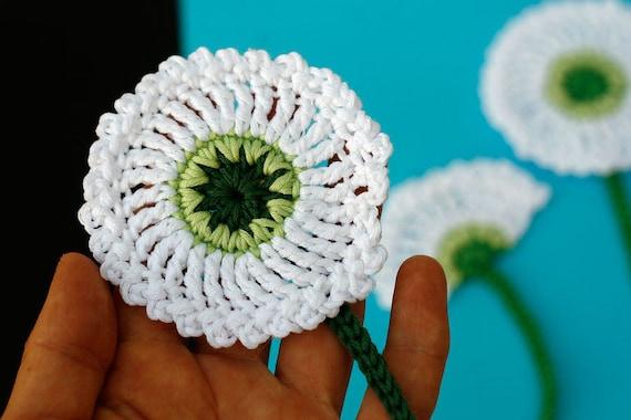 Löwenzahn Blumen Häkeln Applikationen Weiße Crochet Motiv Mit Stiel Weiße Blume Häkelblume 7cm Durchmesser Der Blüte 3er Set