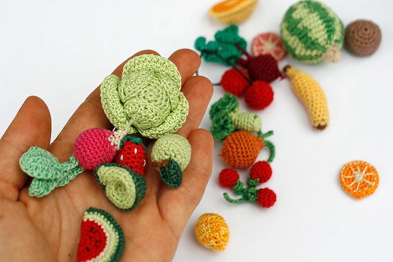 Sehr Miniatur häkeln Obst und Gemüse Puppenhaus Essen Miniaturen | Etsy ZO11