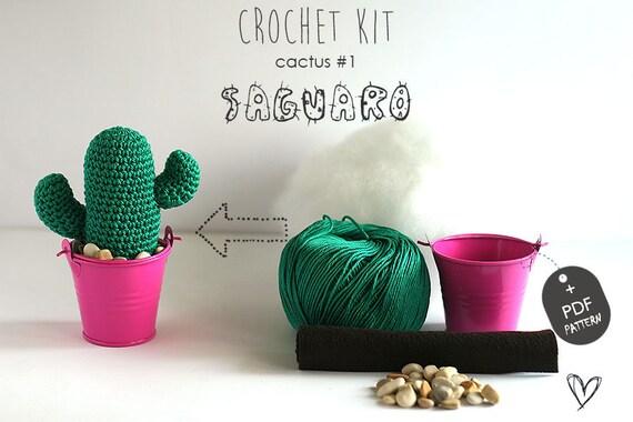 Cactus 1 Saguaro Haak Kit Door Tomtoy Easy Crochet Patroon Etsy