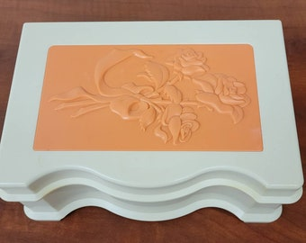 Vintage 1980s Playskool Jewelry Box with Raised Roses and Mirror