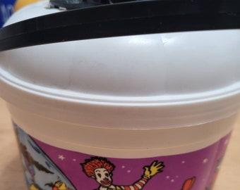 Vintage McDonald's Trick or Treat Bucket with Black Bat Cookie Cutter - Halloween