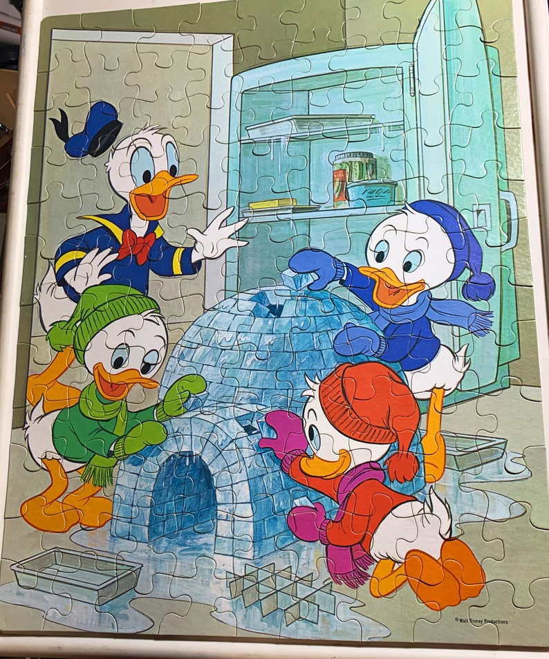 Vintage 1980s Donald Duck Huey Dewey and Louie Puzzle by image 0