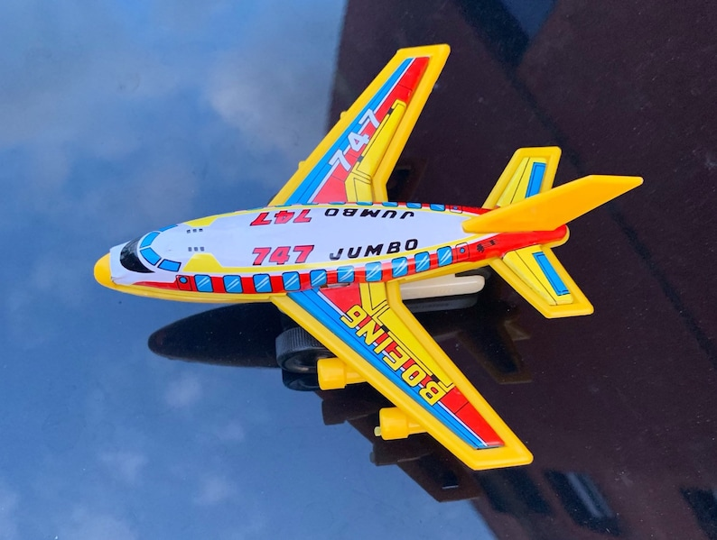 Vintage Tin Litho and Plastic Boeing 747 Airplane  Made in image 0