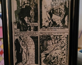 OOAK Framed Vintage Edgar Allan Poe's Fall of the House of Usher Comic Print from the 1970s - 5x7