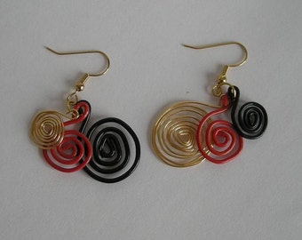 Red Black and Gold Swirl Paperclip Earrings
