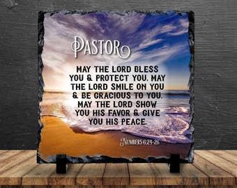 Slate Sign Pastor Gift Preacher Bible Verse Prayer