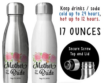 Reusable Soda Water Bottle, Mother Of The Bride 002, Bride's Mother, Personalized Wedding Keepsake, Gift Idea, Stainless Steel Bottle