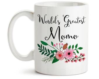 Coffee Mug, World's Greatest Momo Family Grandma Grandparent Granddaughter Grandson Birthday Christmas, Gift Idea