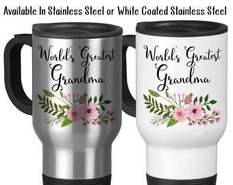 Travel Mug, World's Greatest Grandma Grandchildren Grandson Granddaughter Gift For Grandma Best Grandma, Stainless Steel, 14 oz - Gift Idea