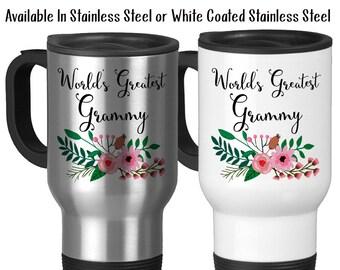Travel Mug, World's Greatest Grammy, Family Grandma Grandparent Granddaughter Grandson Birthday Christmas, Stainless Steel 14 oz, Gift Idea