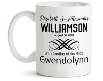 Coffee Mug, Personalized Wedding Party With Bride and Groom Date Est, Bridesmaid, Groomsman, & More, Gift Idea, Large Coffee Cup